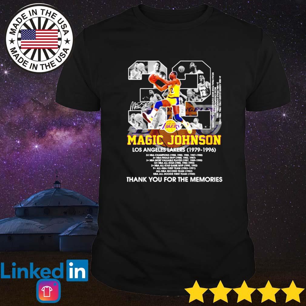 Los Angeles Lakers 32 Magic Johnson 1979-1996 signature shirt