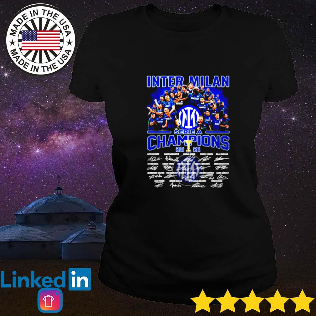 Inter Milan Serie a champions 2021 team players signature Ladies tee