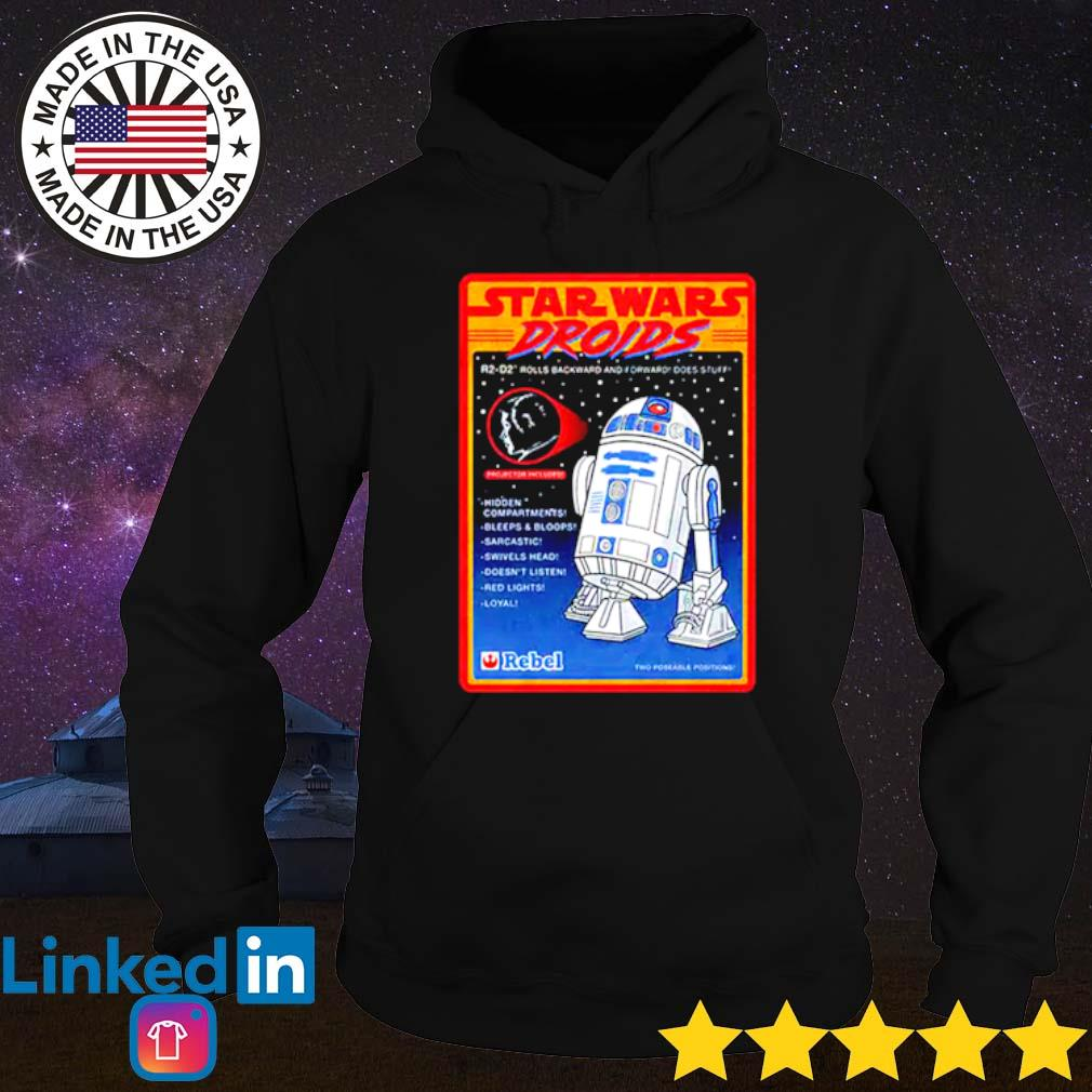 R2-D2 Figure Star Wars droids rolls backward and forward does stuff hidden compartments Hoodie