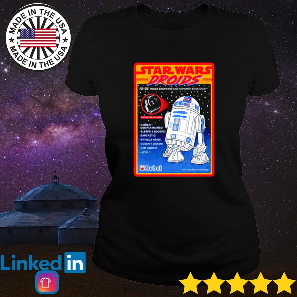 R2-D2 Figure Star Wars droids rolls backward and forward does stuff hidden compartments Ladies tee