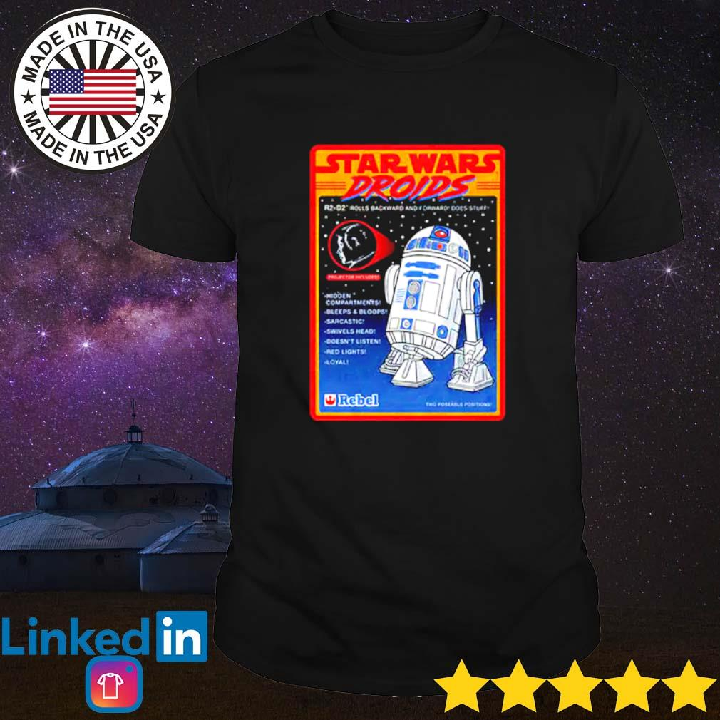 R2-D2 Figure Star Wars droids rolls backward and forward does stuff hidden compartments shirt
