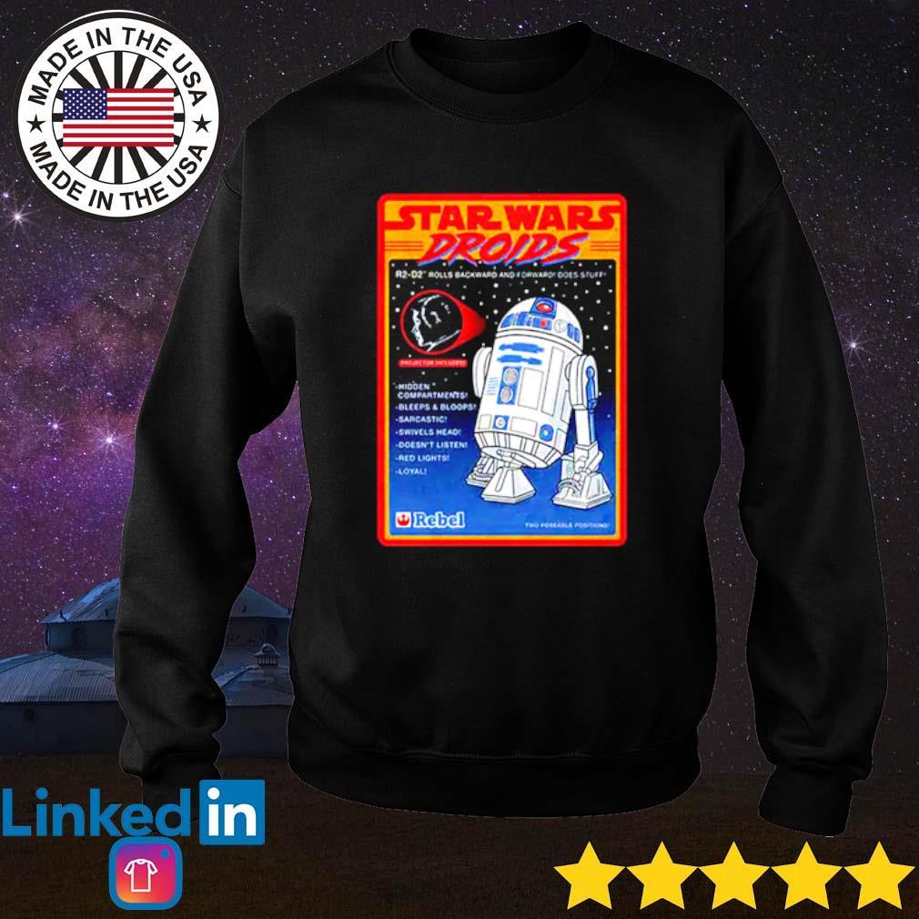 R2-D2 Figure Star Wars droids rolls backward and forward does stuff hidden compartments Sweater
