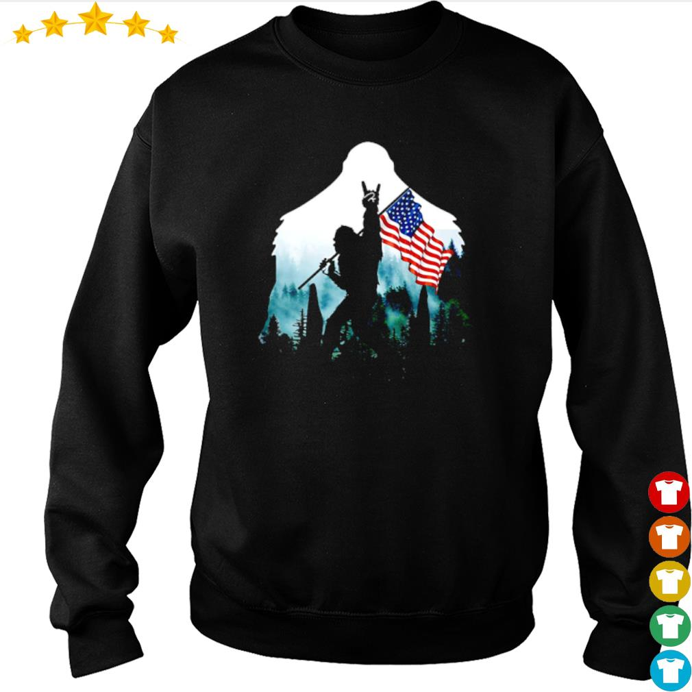 Bigfoot rock and roll American flag into the forest s sweater