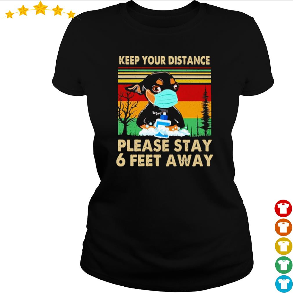 Vintage Chihuahua keep your distance please stay 6 feet away s ladies-tee