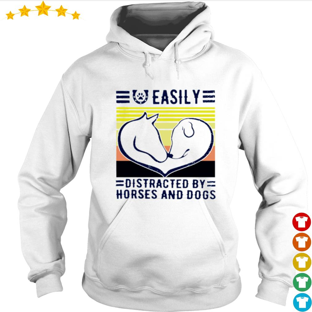Vintage easily distracted by horses and dogs s Hoodie