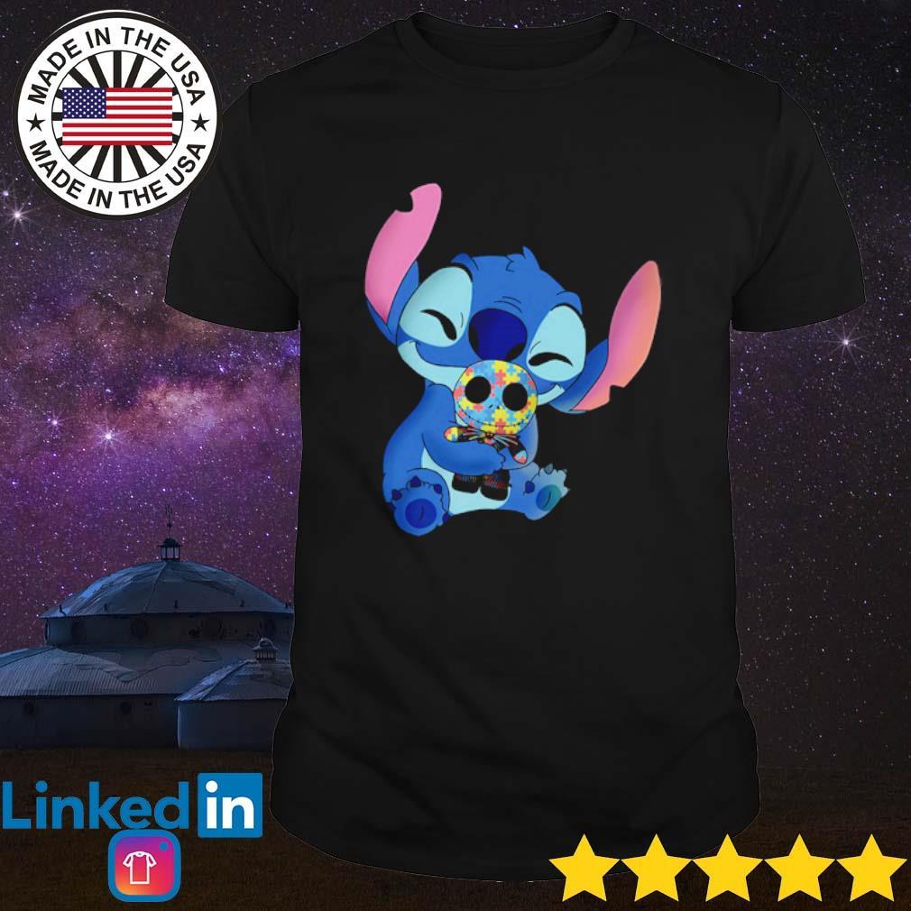 Autism awareness Stitch hug Jack Skellington shirt