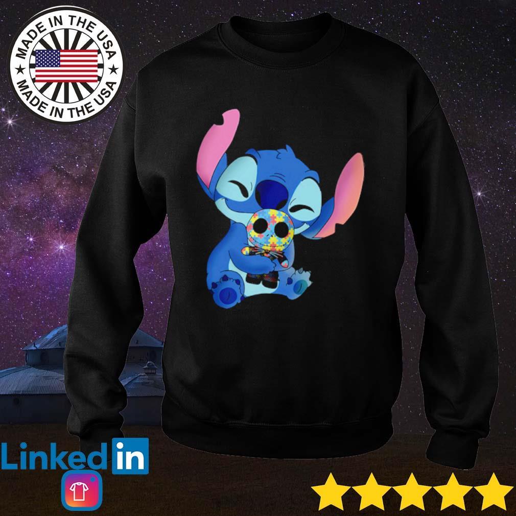 Autism awareness Stitch hug Jack Skellington s Sweater Black