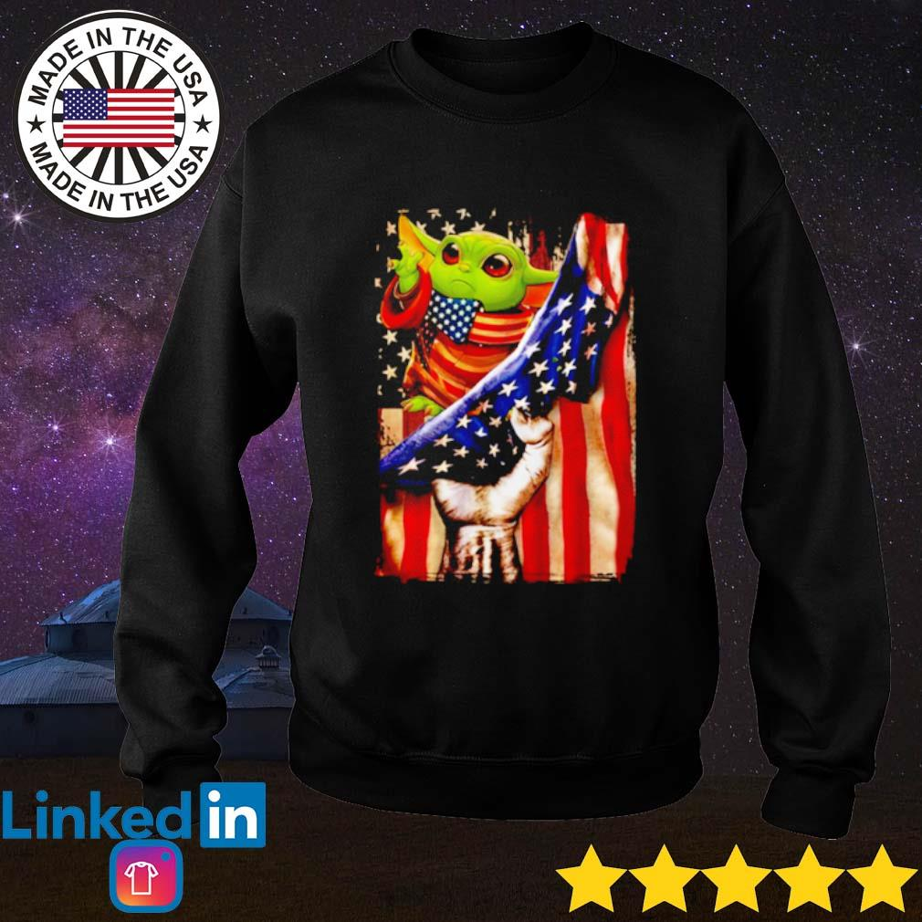 Baby Yoda American Flag s Sweater Black