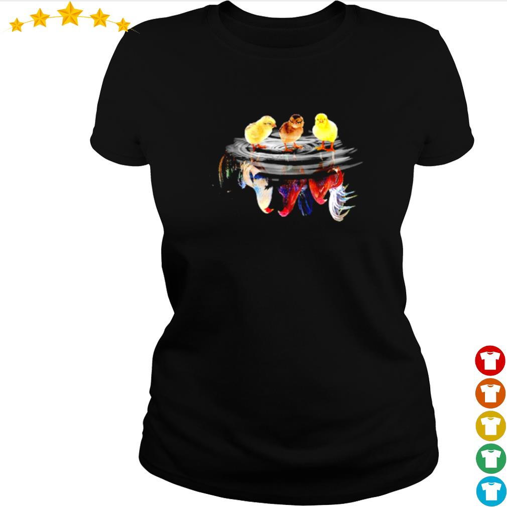 Child Rooster water mirror reflection s ladies-tee