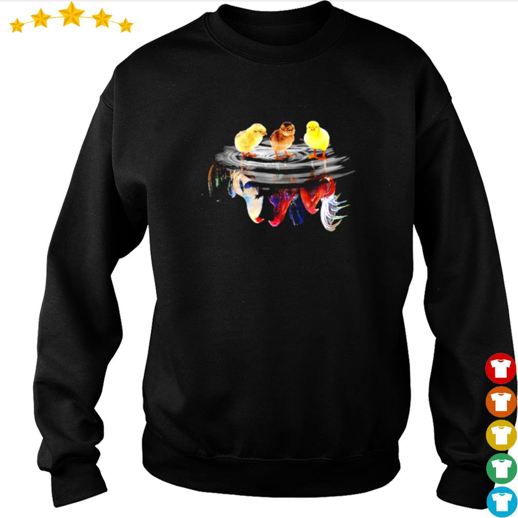 Child Rooster water mirror reflection s sweater
