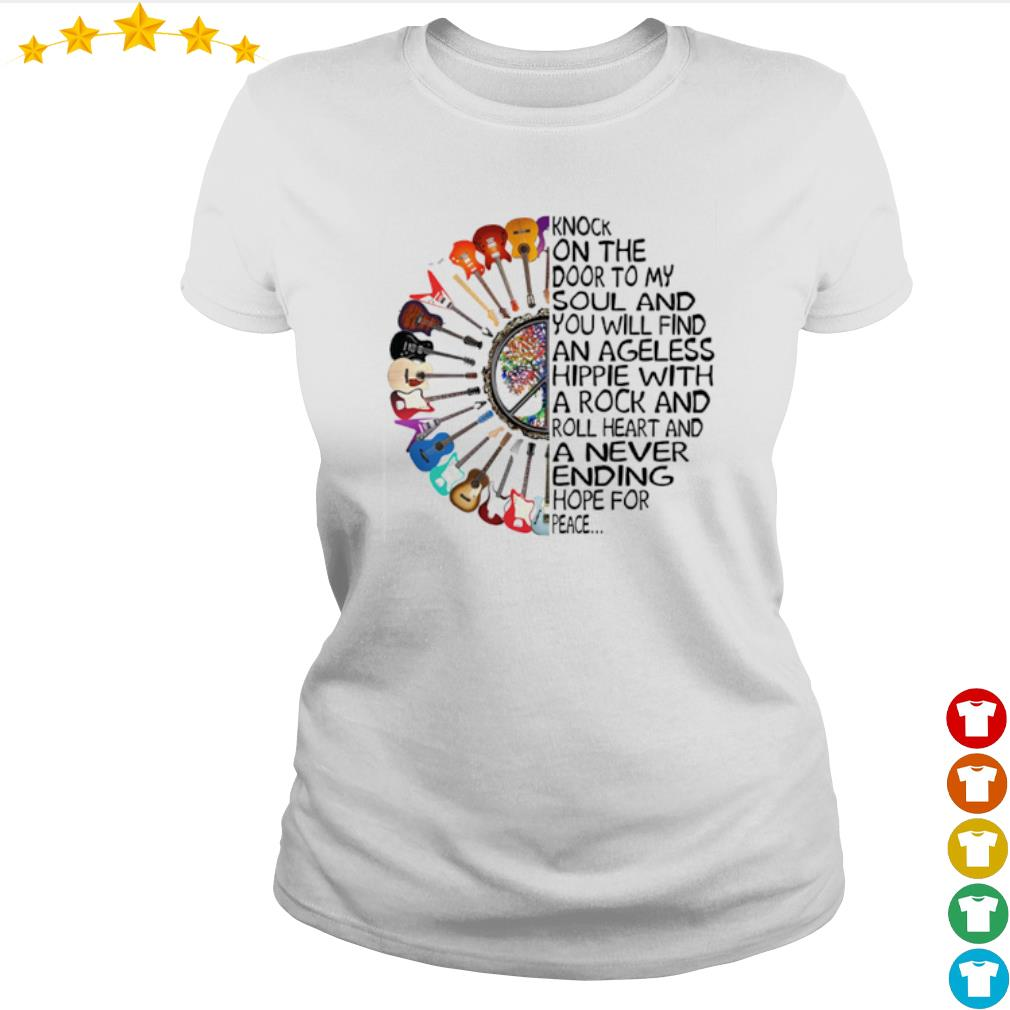 Guitar Knock on the door to my soul and you will find an ageless hippie s Ladies-tee