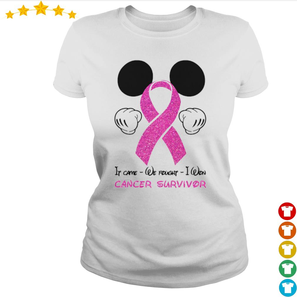 Mickey mouse if came we fought I won cancer awareness survivor s Ladies-tee