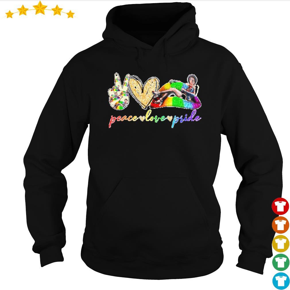 Peace love pride LGBT Lips Frank N. Furter s hoodie