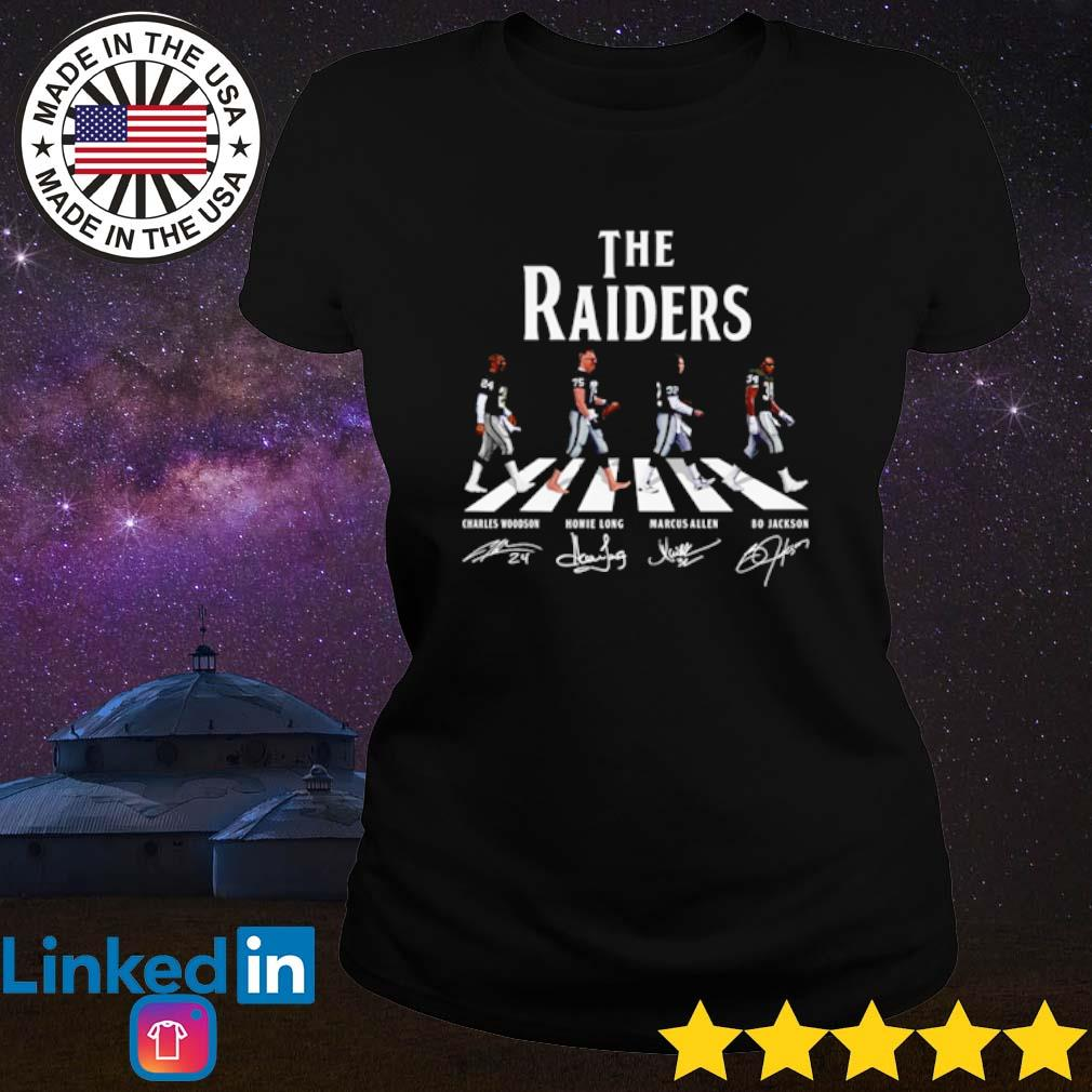The Oakland Raiders Abbey Road team players signatures s Ladies Tee Black