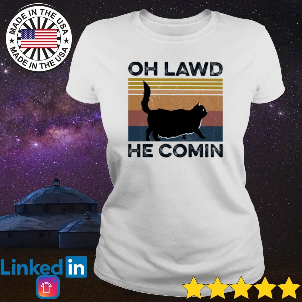 Vintage Cat oh lawd he Comin s Ladies Tee White