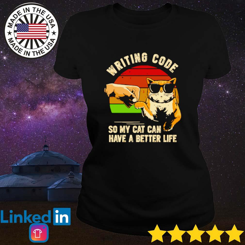 Vintage writing code so my cat can have a better life s Ladies Tee Black