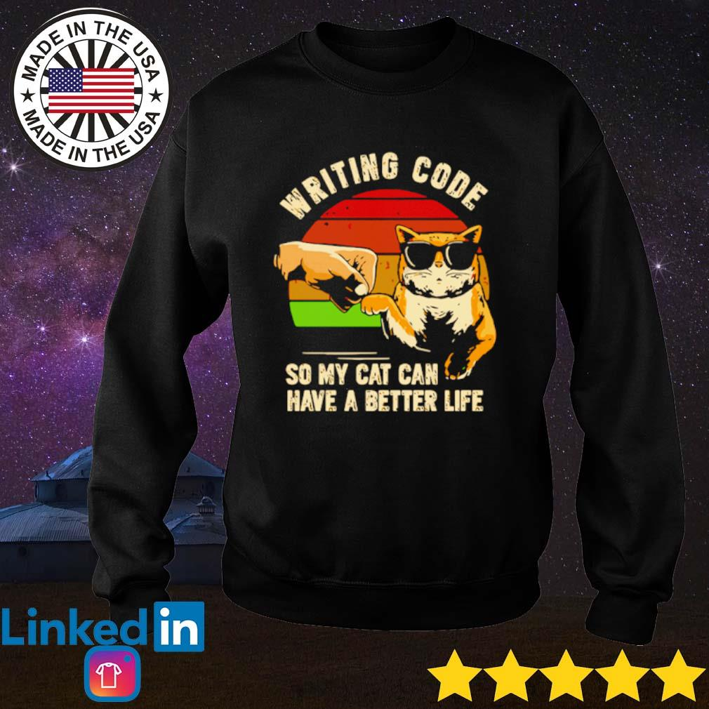 Vintage writing code so my cat can have a better life s Sweater Black