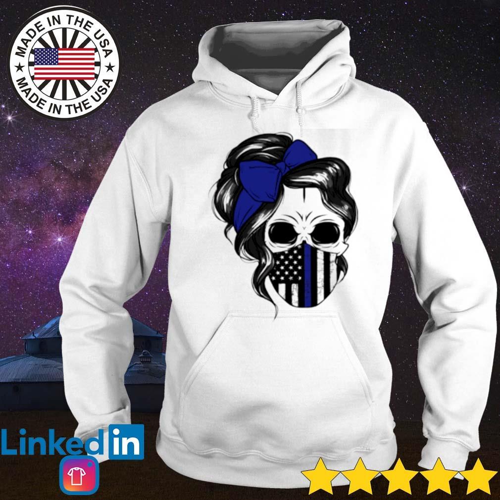 Skull Woman mask Thin Blue Line s Hoodie White