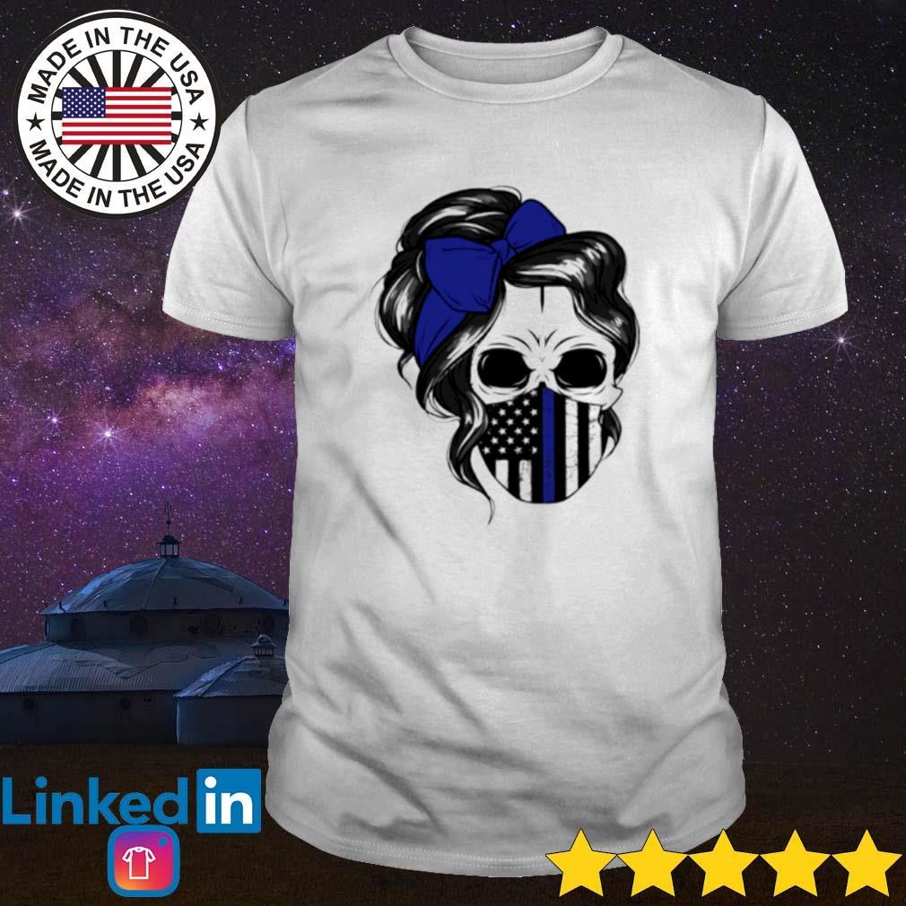 Skull Woman mask Thin Blue Line shirt