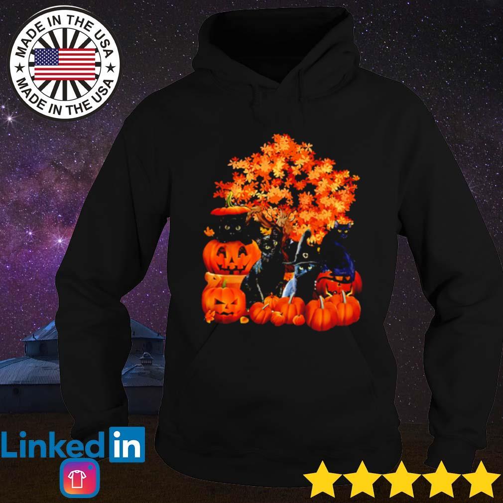 Autumn trees Black Cats Halloween Pumpkins s Hoodie Black