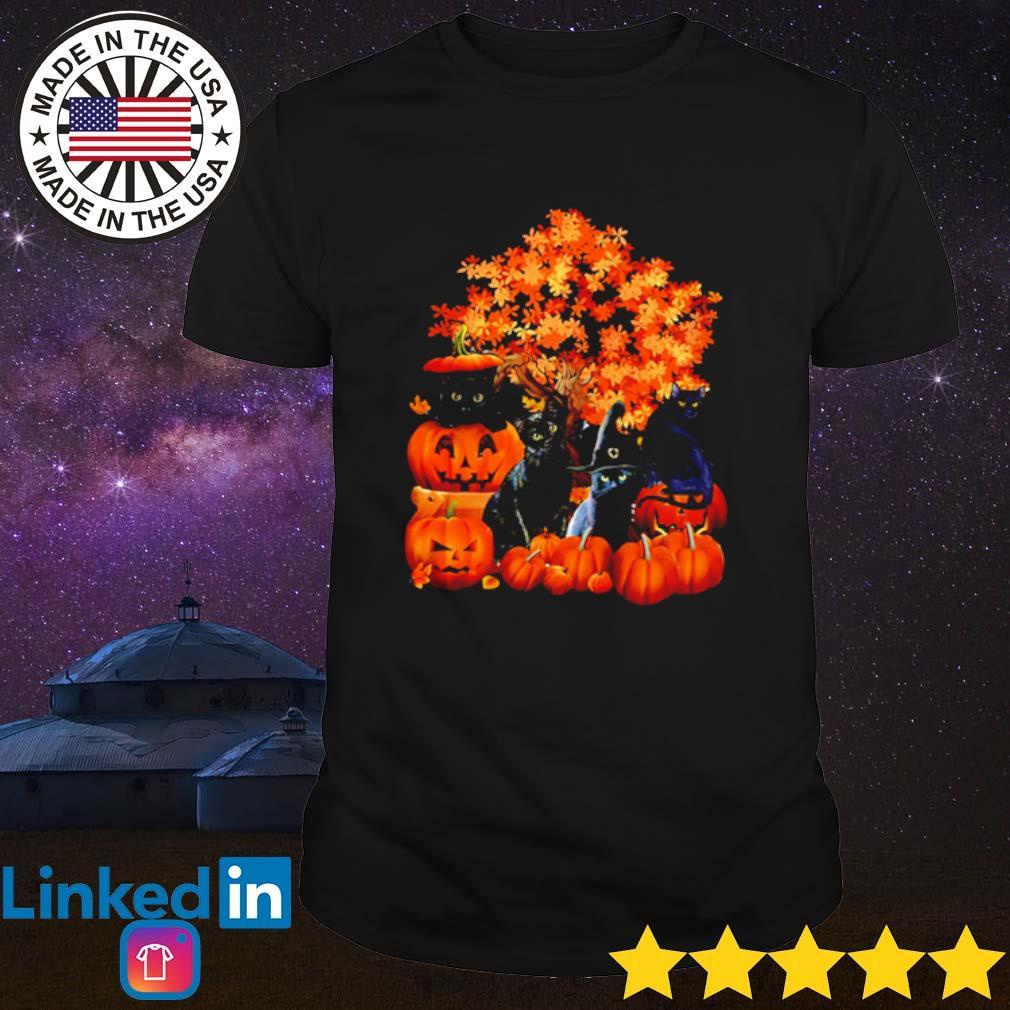 Autumn trees Black Cats Halloween Pumpkins shirt