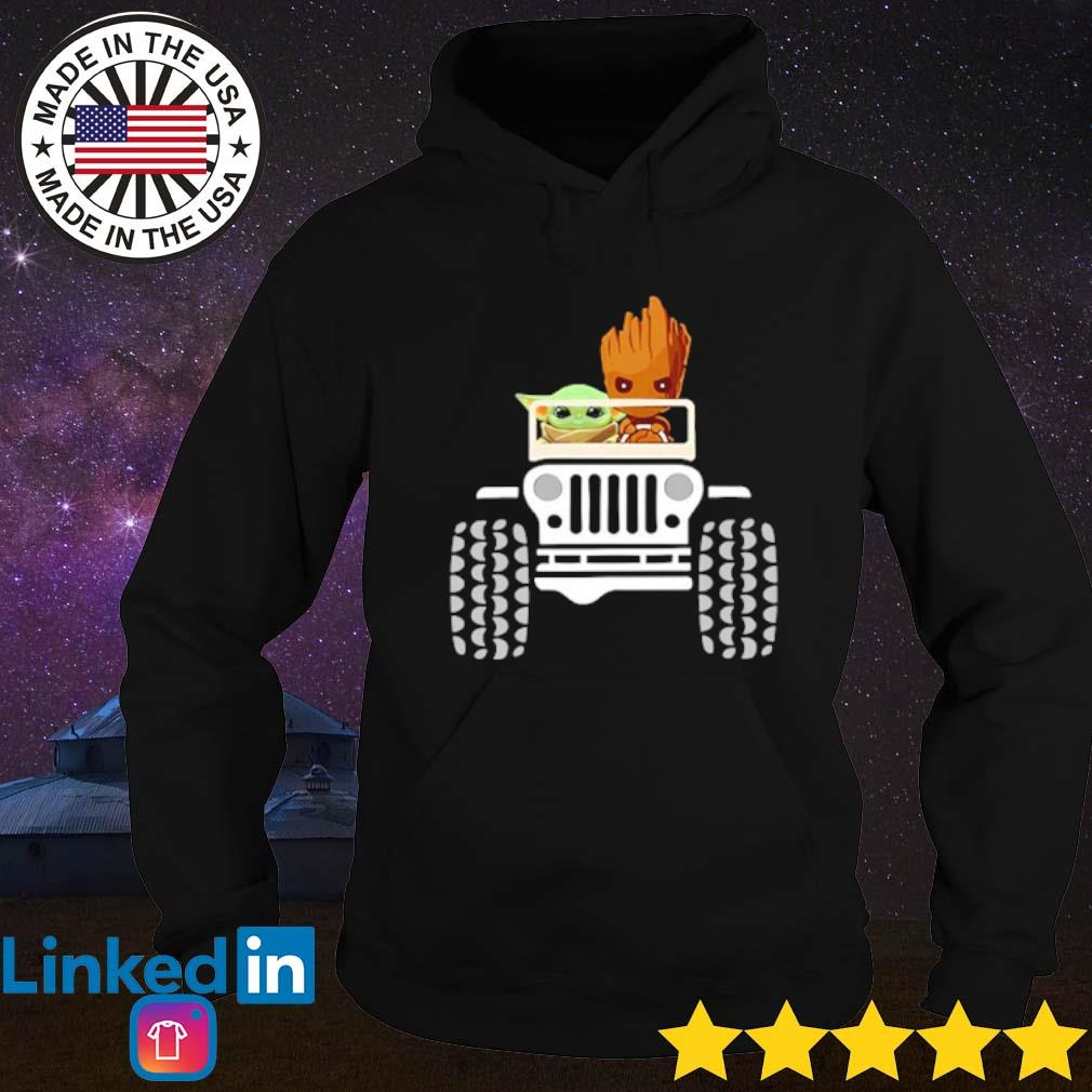 Baby Yoda and Baby Groot driving jeep s Hoodie Black