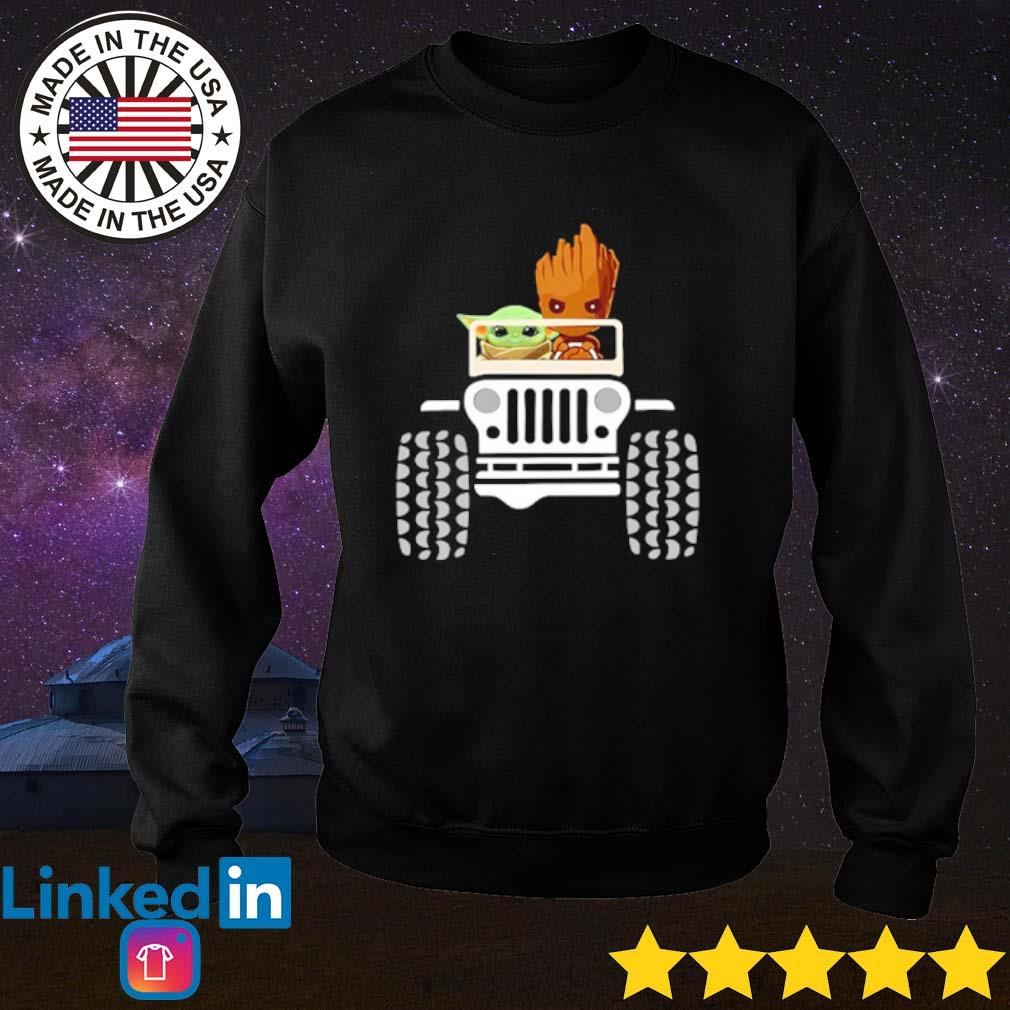 Baby Yoda and Baby Groot driving jeep s Sweater Black