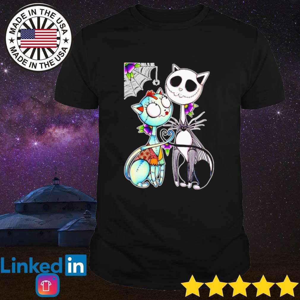 Cat Sally and Jack Skellington shirt