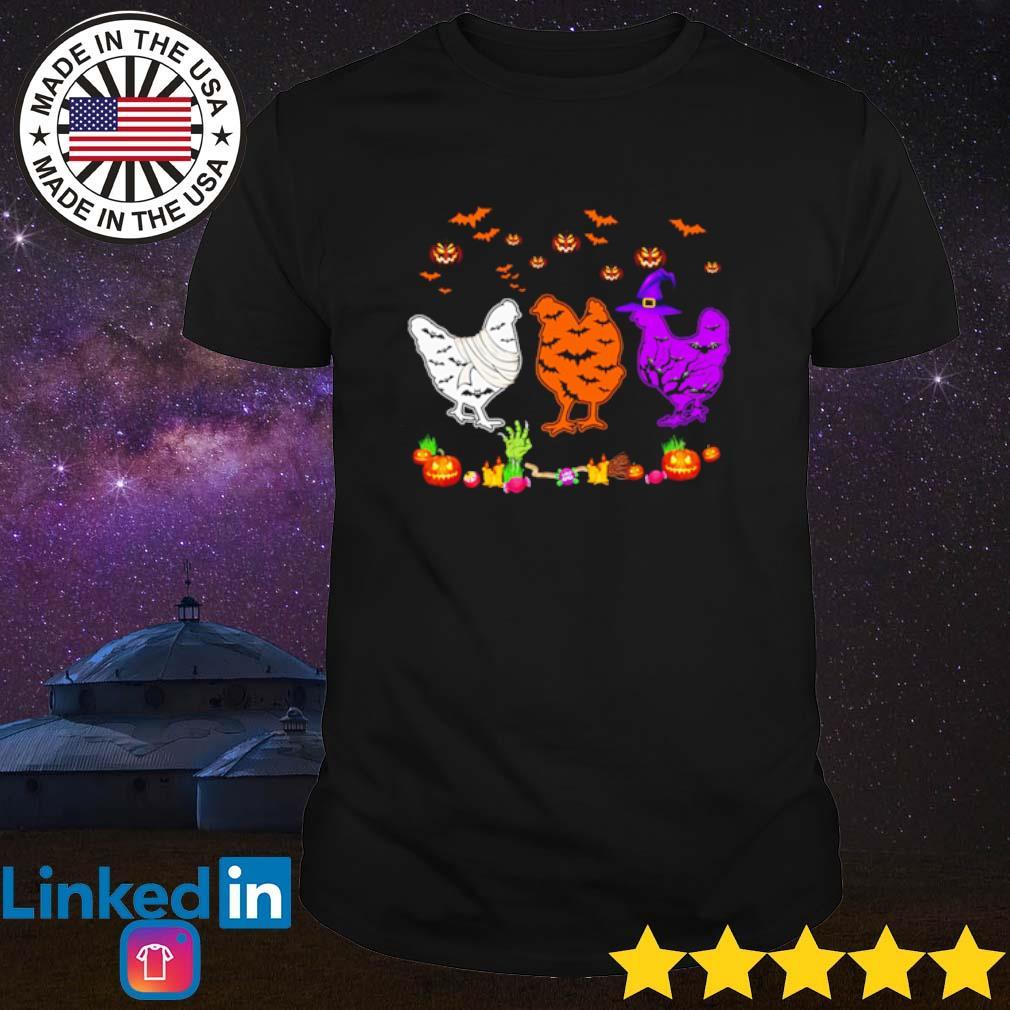 Chickens Halloween white orange and purple shirt