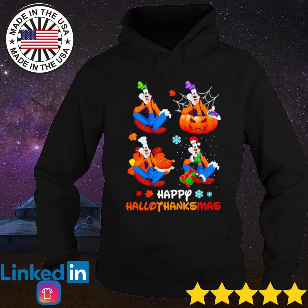 Goofy happy Hallothanksmas s Hoodie Black