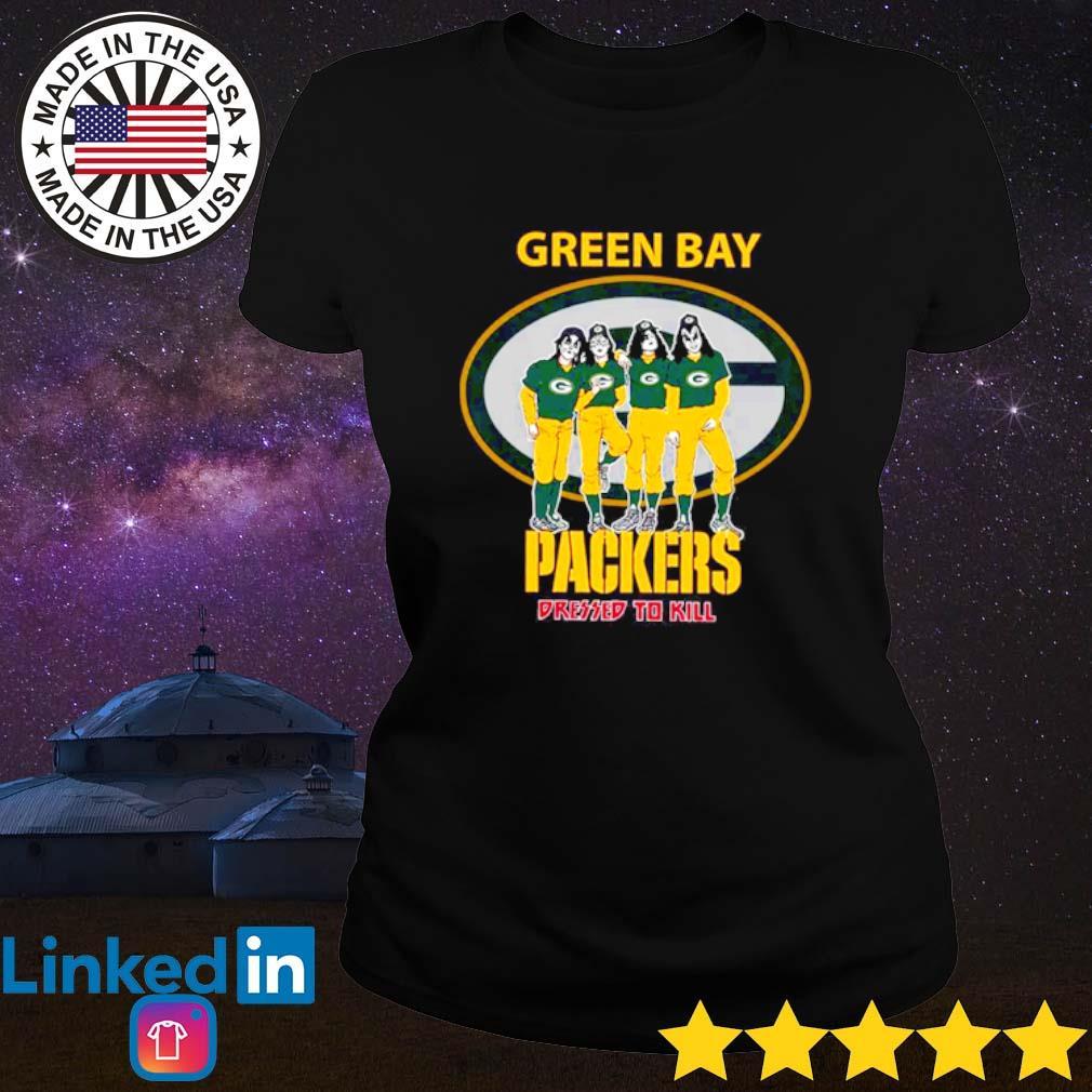 Green Bay Packers Kiss Dressed To Kill s Ladies Tee Black