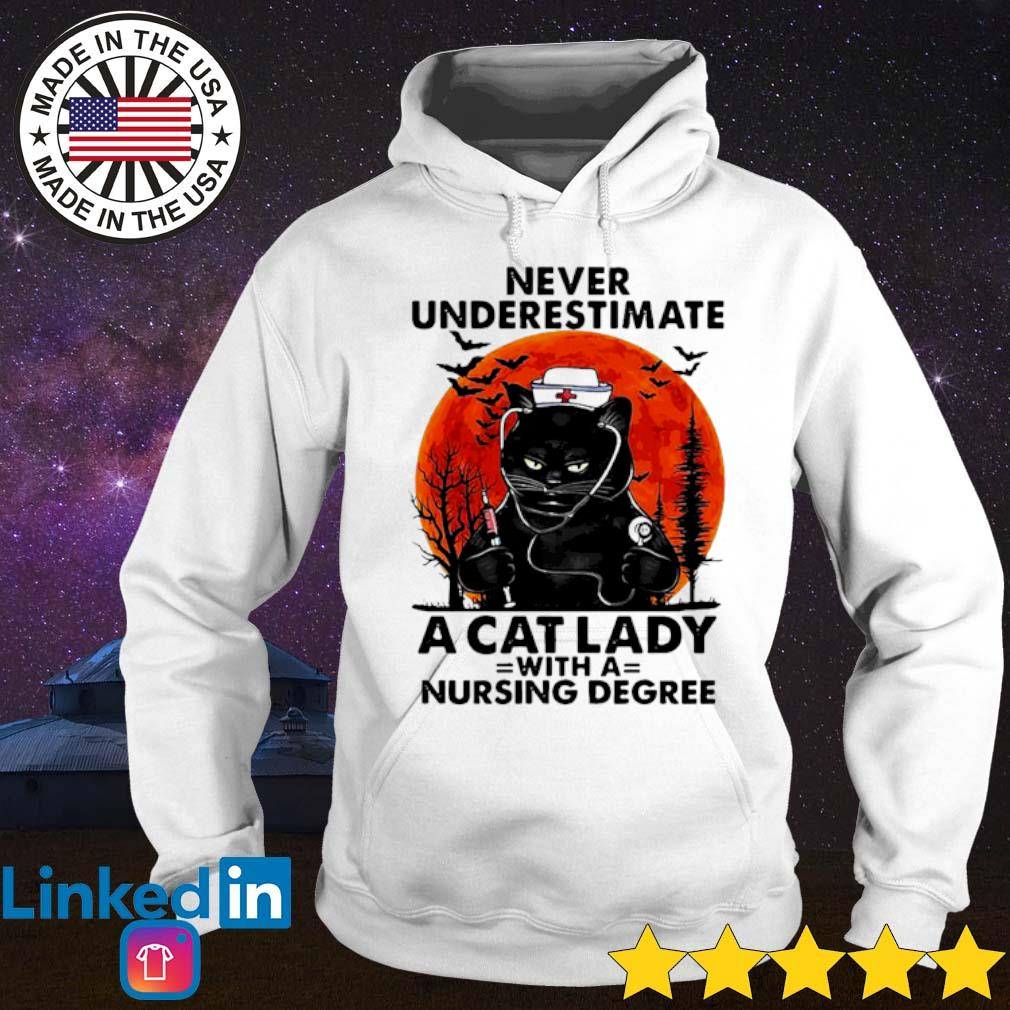 Never underestimate a cat lady with a nursing degree sunset Halloween s Hoodie White
