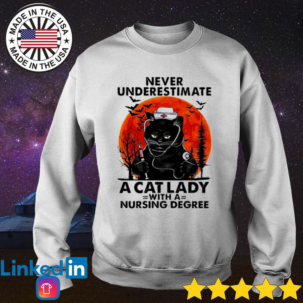 Never underestimate a cat lady with a nursing degree sunset Halloween s Sweater White