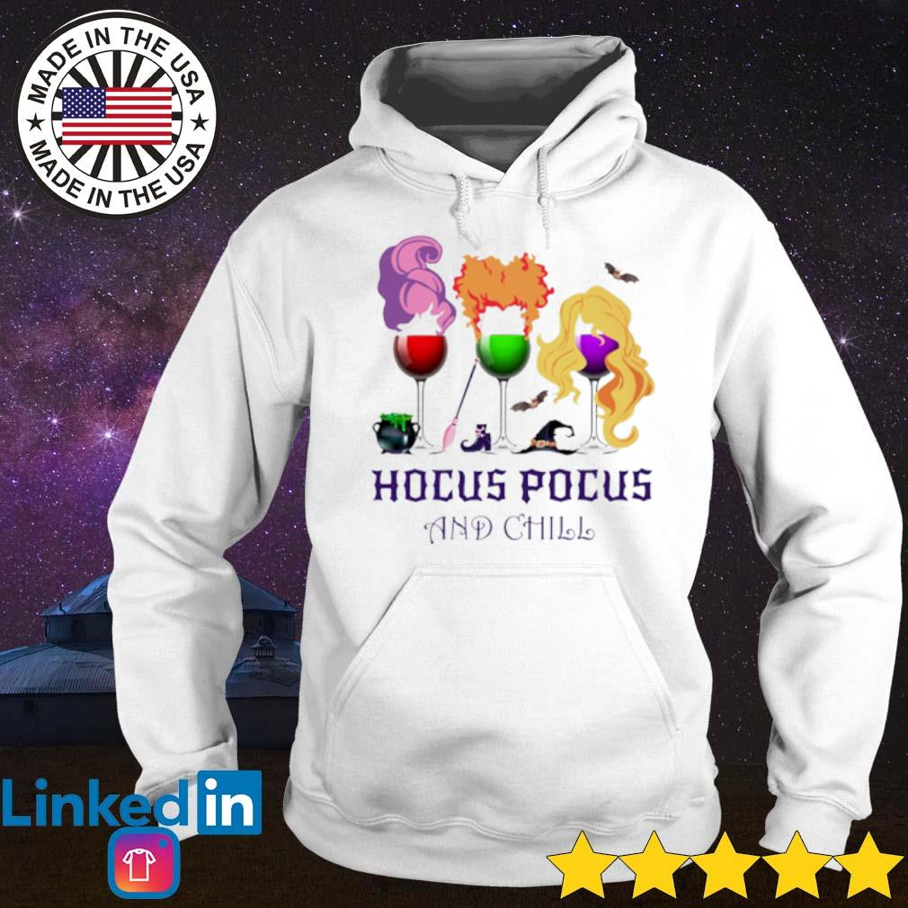 Sanderson Sisters Wine glasses Hocus Pocus and chill s Hoodie White