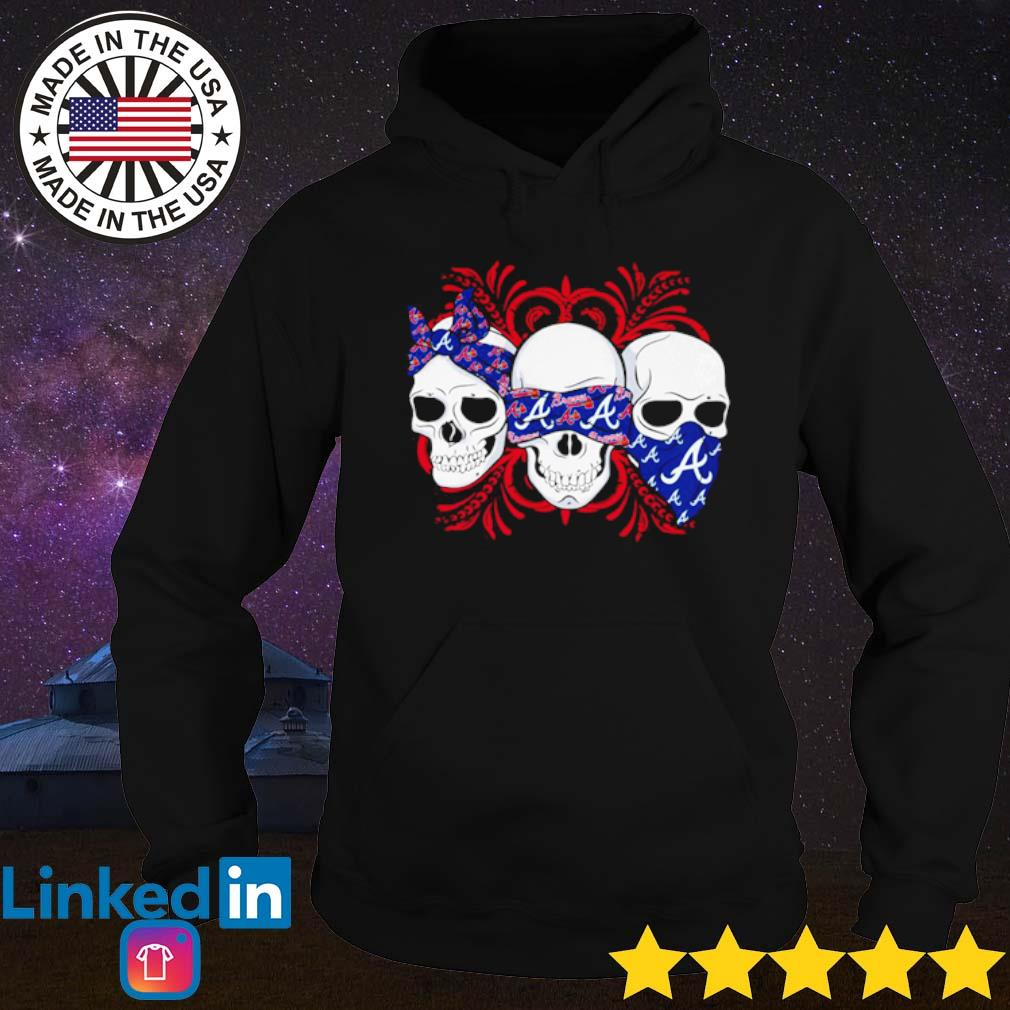 Skull wearing bandana Atlanta Braves s Hoodie Black