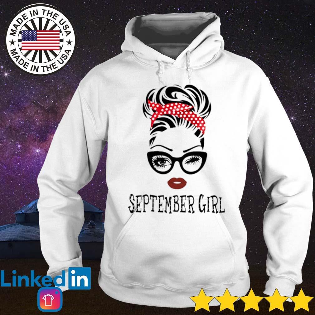 The girl wearing glasses and red bandana September girl s Hoodie White