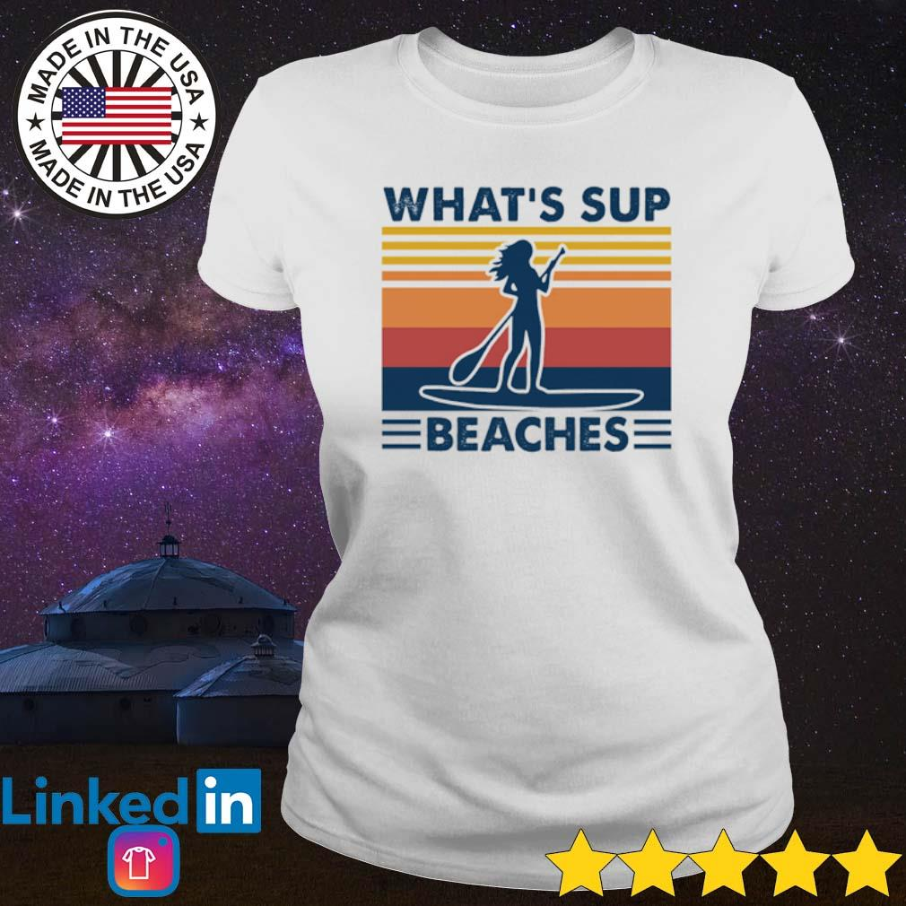 Vintage Paddleboard what's sup beaches s Ladies Tee White