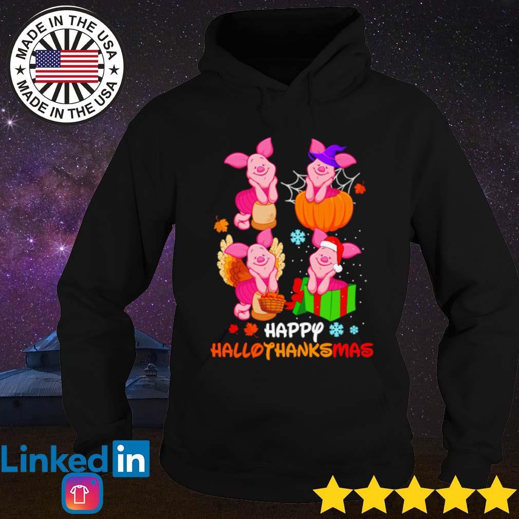 Winnie The Pooh Piglet happy Hallothanksmas s Hoodie Black