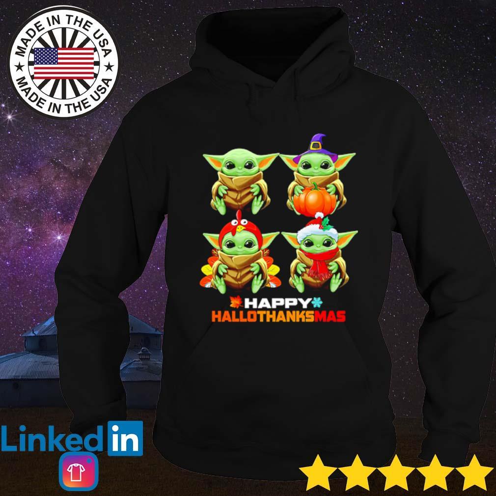 Baby Yoda Happy hallothanksmas Halloween Thanksgiving and Christmas s Hoodie Black