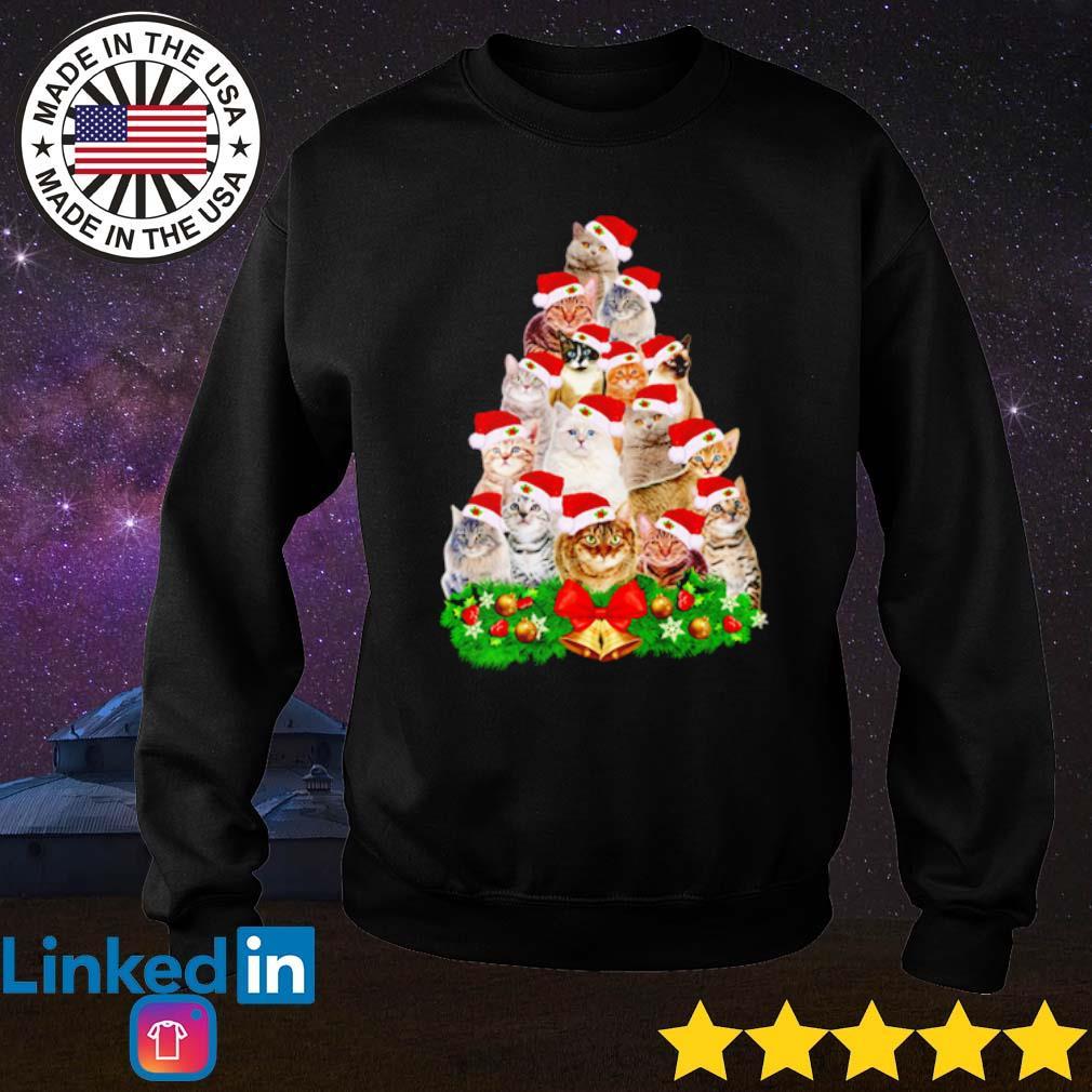 Cats tree Merry Christmas sweater