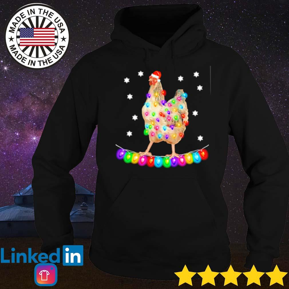 Chicken Christmas Santa lights sweater Hoodie