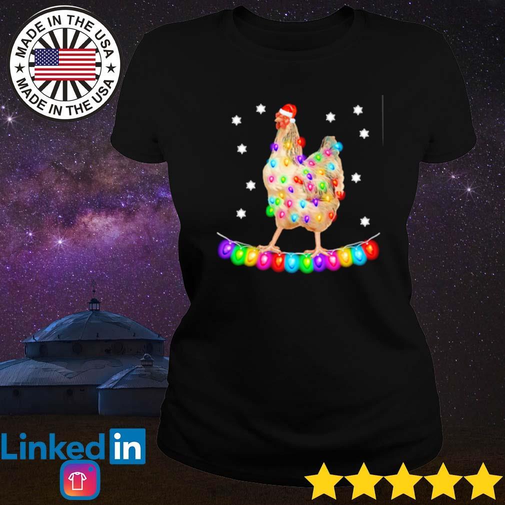 Chicken Christmas Santa lights sweater Ladies tee