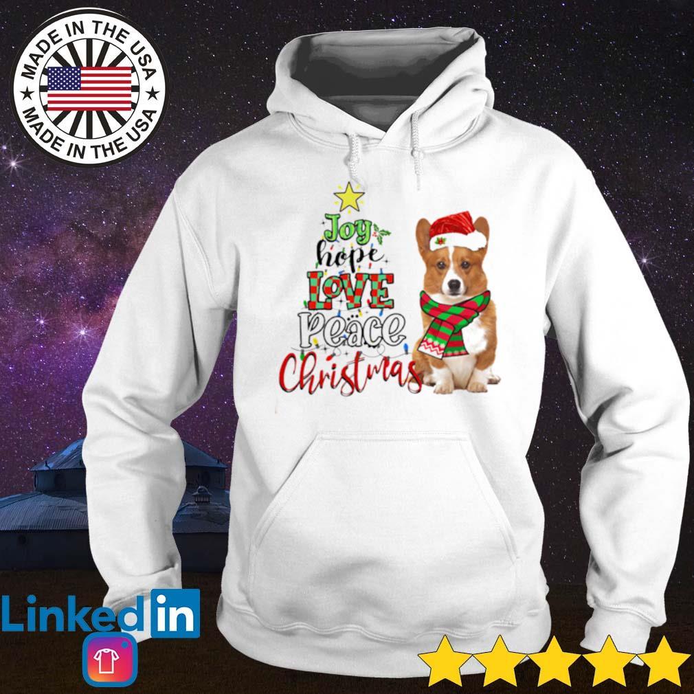 Corgi Joy hope love peace Christmas sweater Hoodie