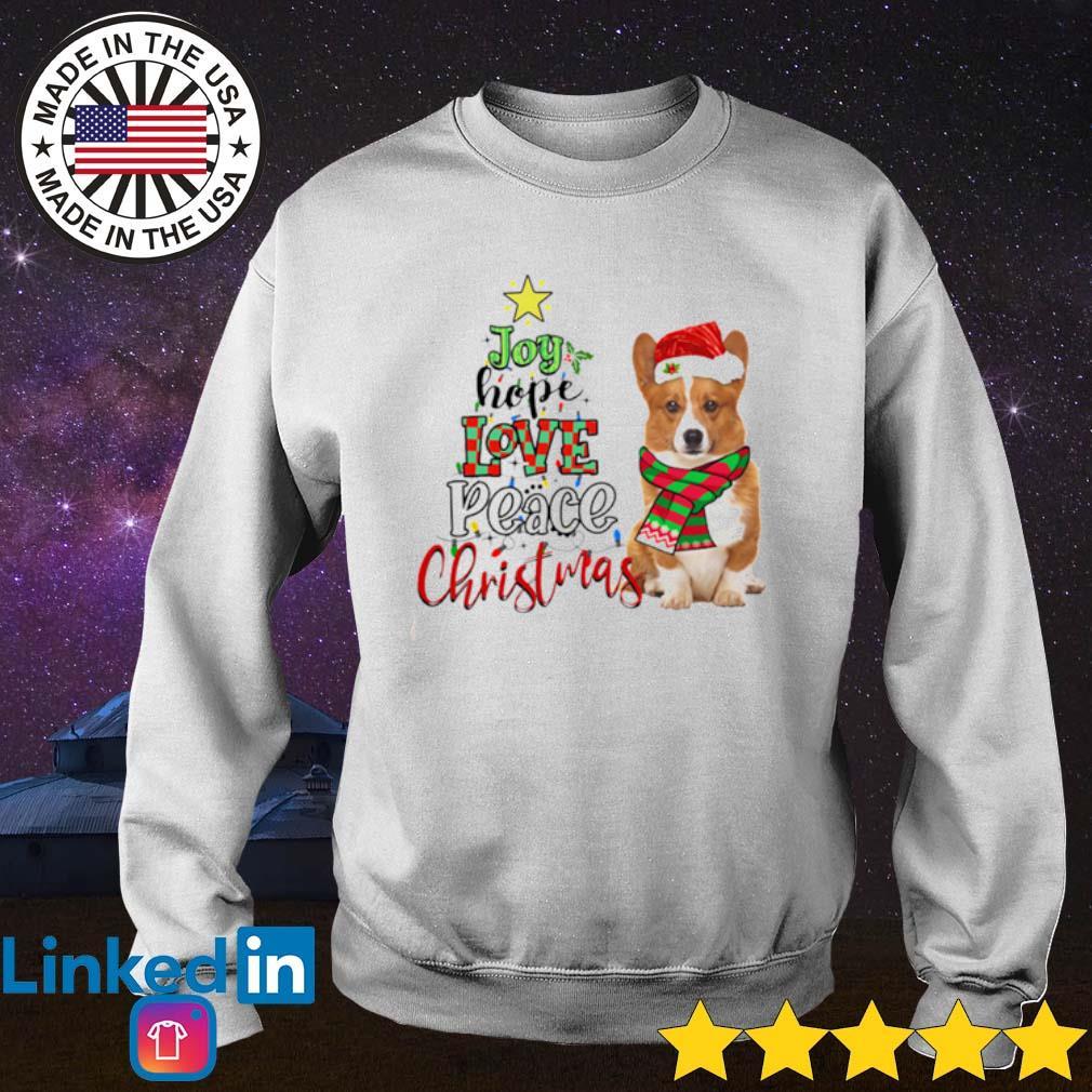 Corgi Joy hope love peace Christmas sweater