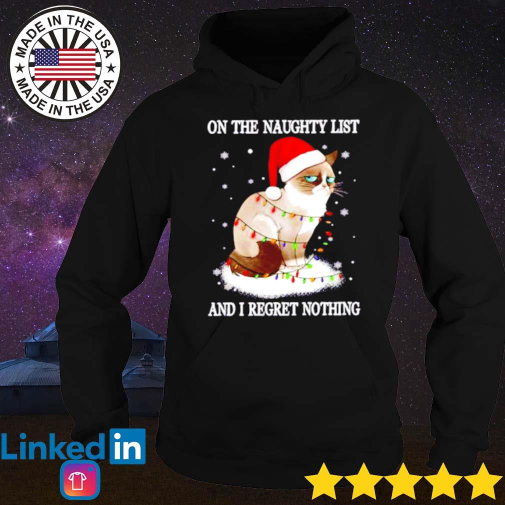 Grumpy cat Santa hat on the naughty list and I regret nothing Christmas sweater Hoodie