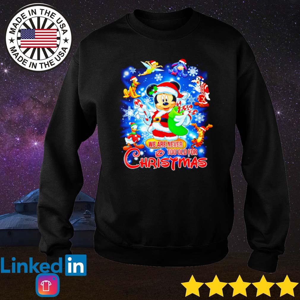 Mickey Mouse Santa we are never too old for Christmas sweater