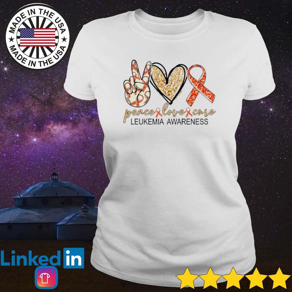 Peace love cure Leukemia Awareness s Ladies tee