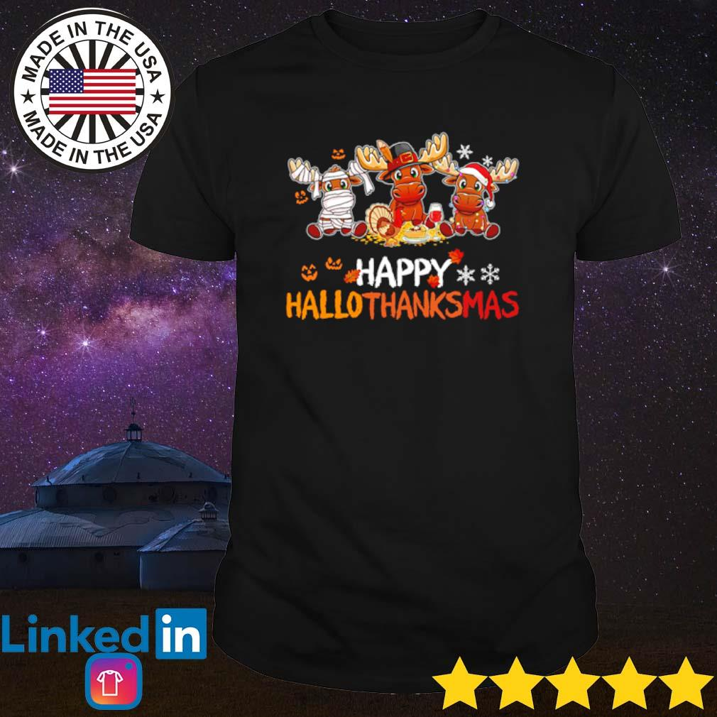 Reindeers happy Hallothanksmas halloween thanksgiving Christmas shirt