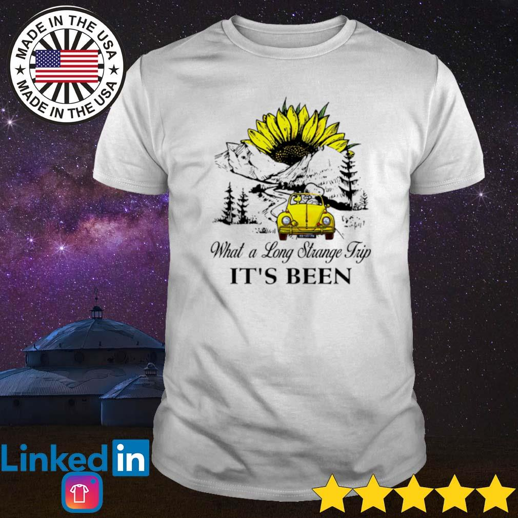 Snoopy and Woodstock driving volkswagen what a long strange trip it's been shirt