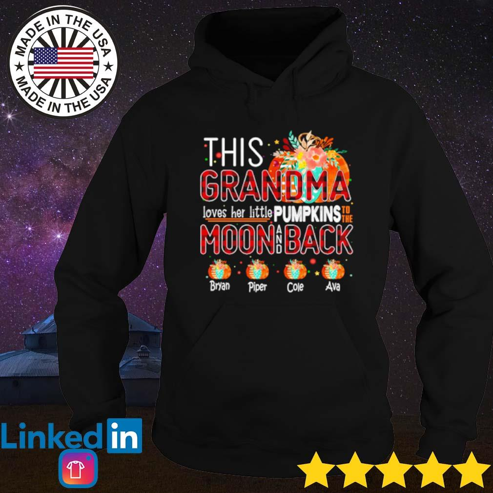 This Grandma loves her little pumpkins to the moon back Bryan Piper Cole Ava s Hoodie Black